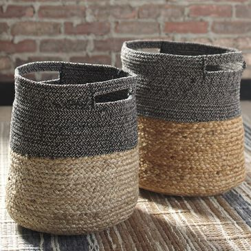 Signature Design by Ashley Parrish 2-Piece Basket Set in Natural/Black, , large