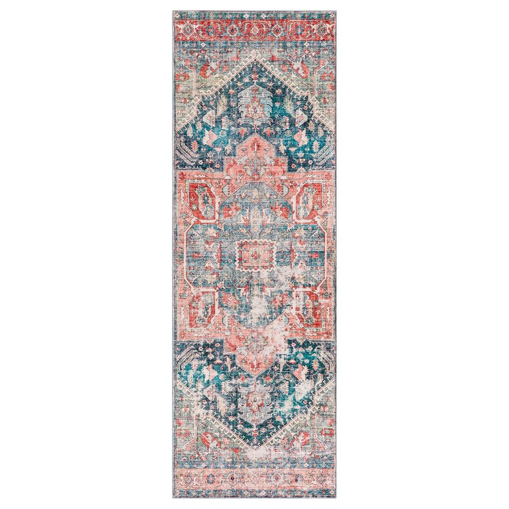 """Surya Erin 2'6"""" x 7'6"""" Terracotta, Pink, Teal and Beige Runner, , large"""