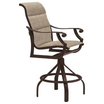Tropitone Montreux Padded Sling Swivel Bar Stool in Rich Earth, , large