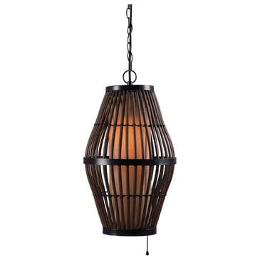 Kenroy Biscayne 1-Light Outdoor Pendant in Rattan with Black Accents, , large
