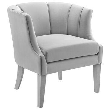 Tov Furniture Turin Barrell Chair in Grey Velvet, , large