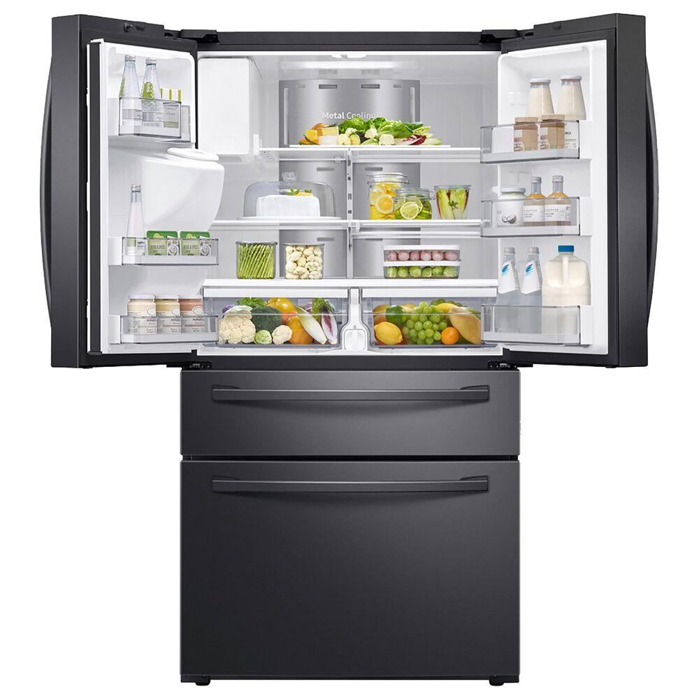 Samsung 4-Piece Kitchen Package with 22.2 Cu. Ft. French Door Refrigerator and Electric Range in Black Stainless, , large