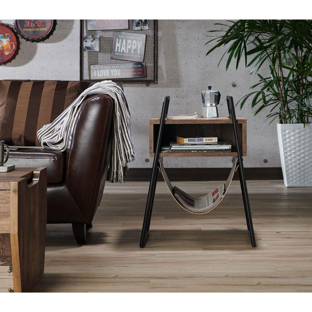 Furniture of America Rodriguez End Table in Reclaimed Oak, , large