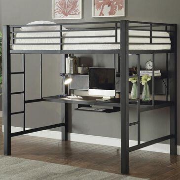 Little Dreamer Full Workstation Loft Bed in Black, , large