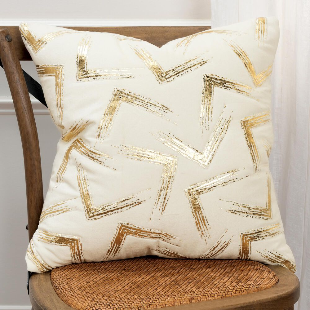 """Rizzy Home Geometric 20"""" Down Filled Pillow in Ivory, , large"""