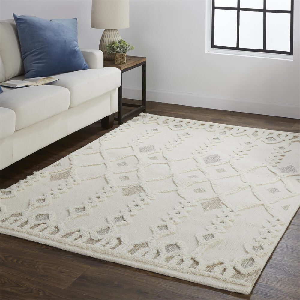 Feizy Rugs Anica 5' x 8' Ivory Area Rug, , large