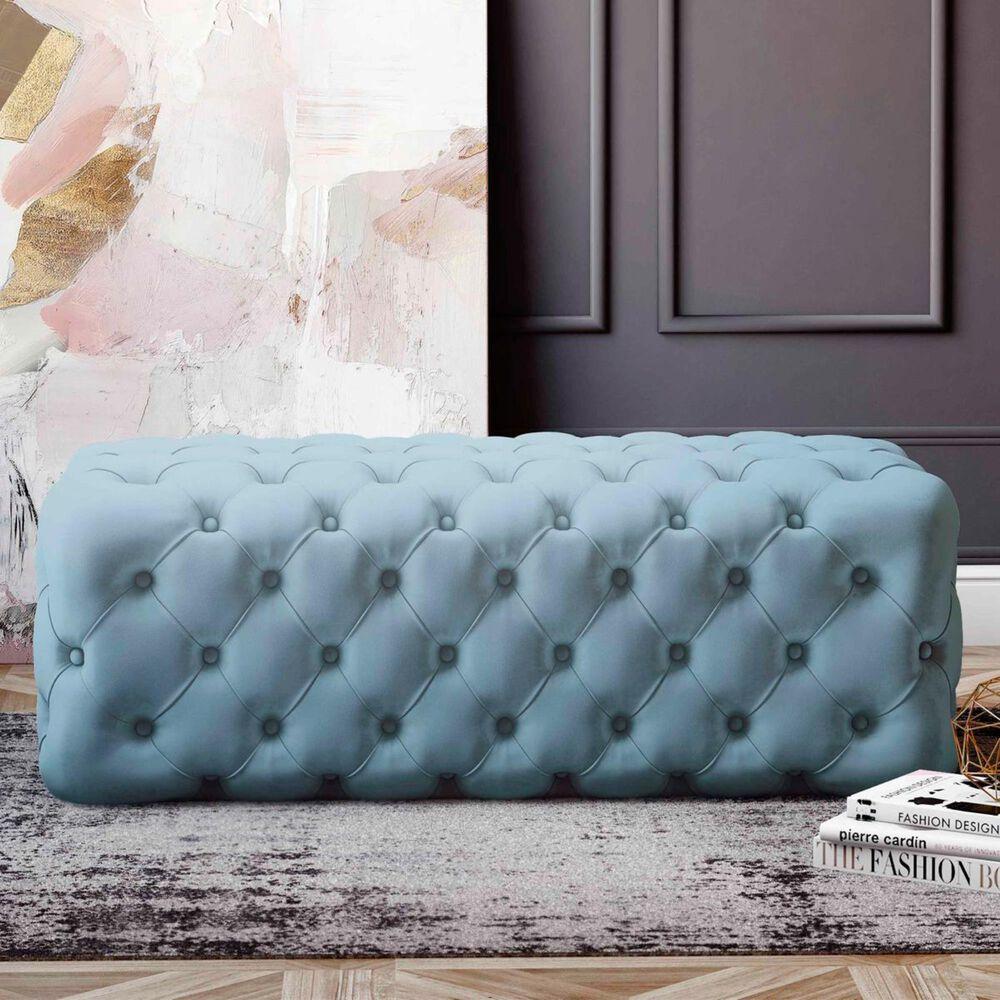 Tov Furniture Kaylee Velvet Ottoman in Blue, , large