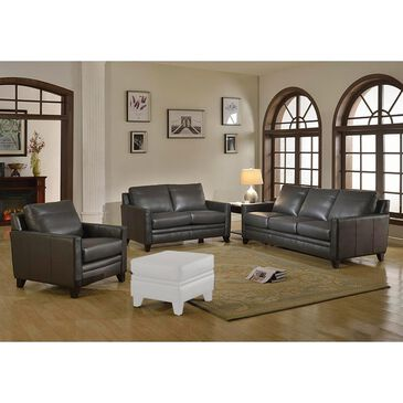 Italiano Furniture Fletcher Leather 3-Piece Living Room Set in Charcoal Gray, , large
