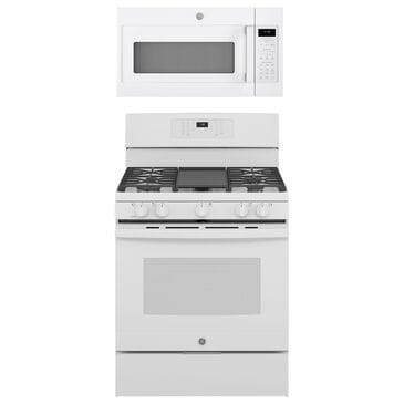 """GE Appliances 2-Piece Kitchen Package with 30"""""""" Gas Range and 1.9 Cu. Ft. Microwave Oven in White, , large"""