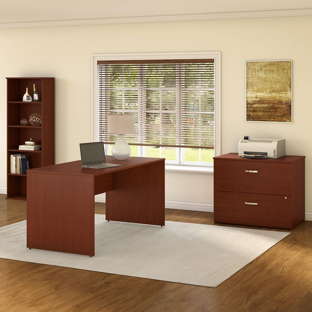 Bush Contemporary 3-Piece Office Desk Set in Dark Wood and Autumn Cherry, , large
