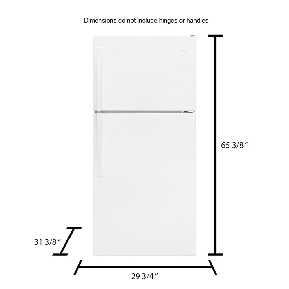 Whirlpool 18.2 Cu. Ft. Top Freezer Refrigerator with Ice Maker in White , , large