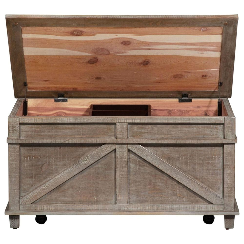 Belle Furnishings Parkland Falls Storage Trunk in Weathered Taupe, , large