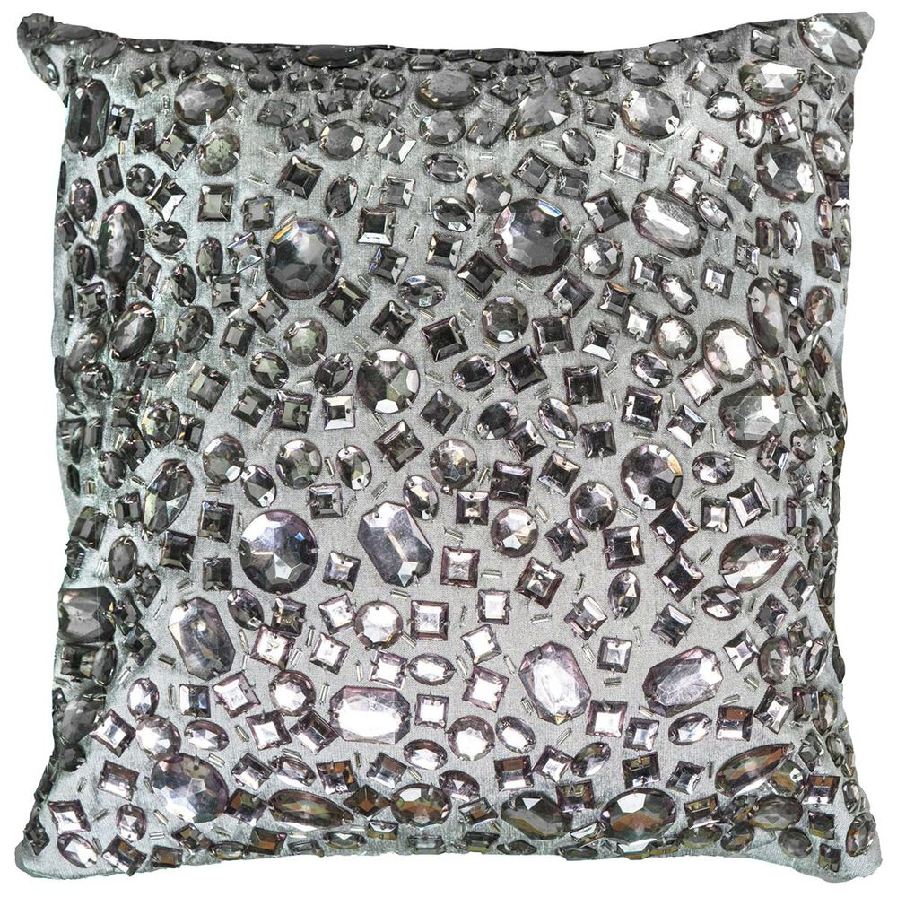"""Rizzy Home 12"""" x 12"""" Poly Fill Pillow in Metallic, , large"""