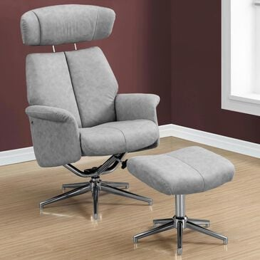 Monarch Specialties 2-Piece Swivel Reclining Chair Set in Grey, , large