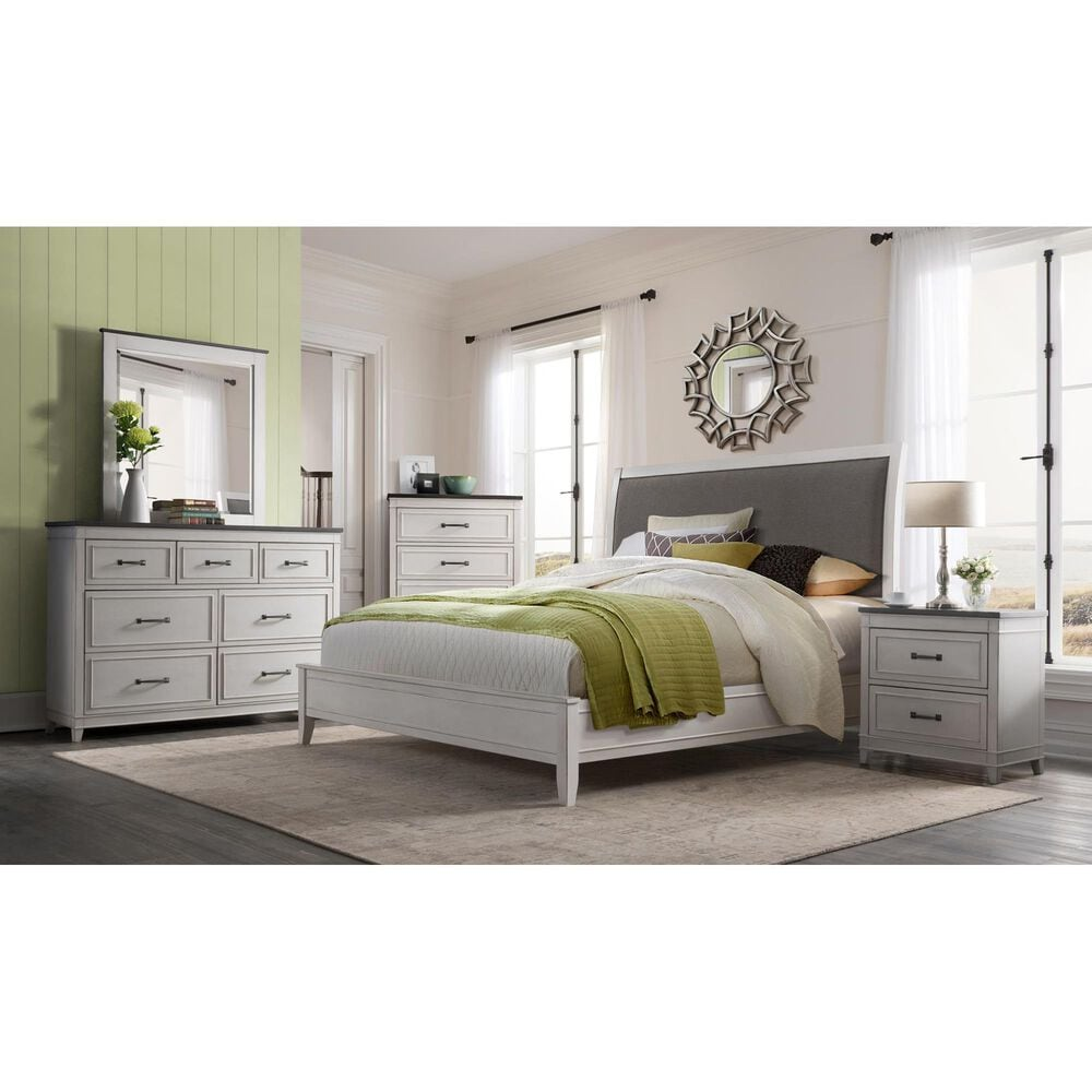 Martin Svensson Home Del Mar King Bed in Distressed White, , large
