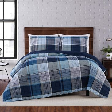 Pem America Truly Soft Trey 3-Piece Full/Queen Quilt Set in Blue, , large