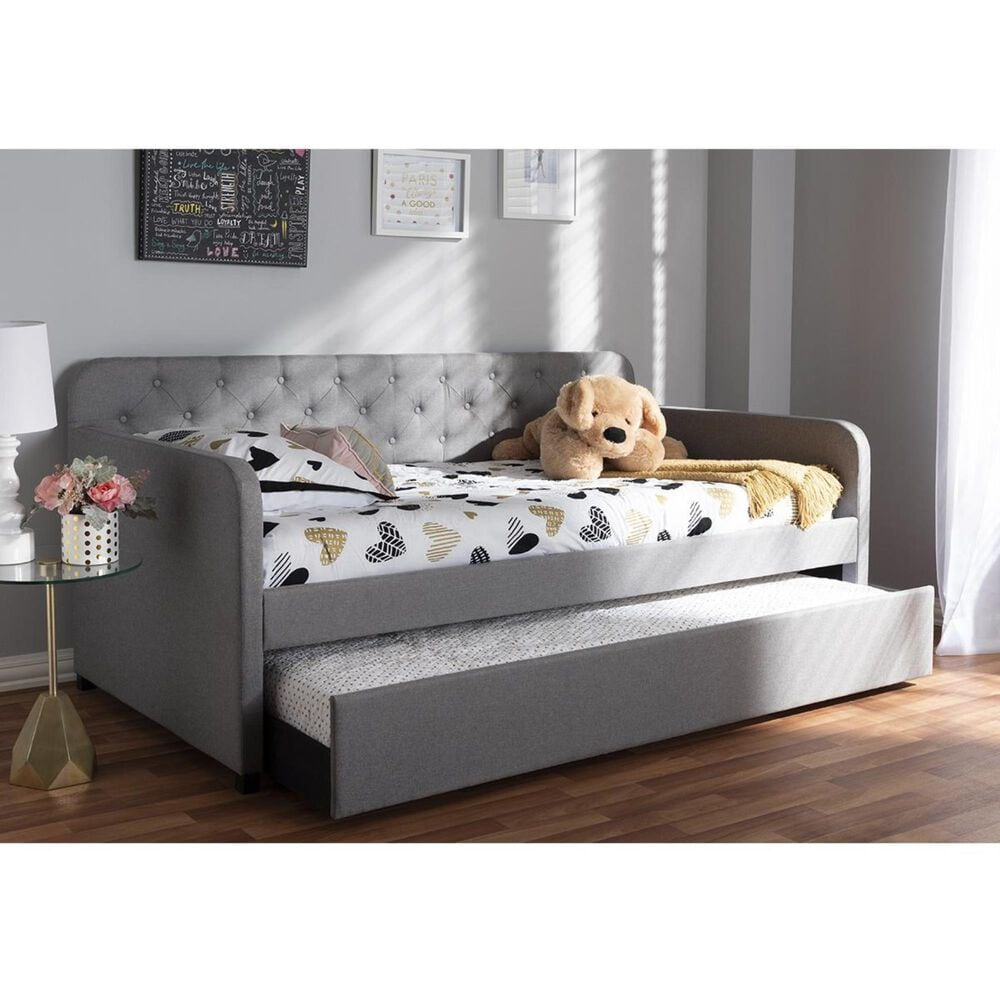 Baxton Studio Camelia Twin Sofa Daybed with Roll-Out Trundle Guest Bed in Light Grey, , large