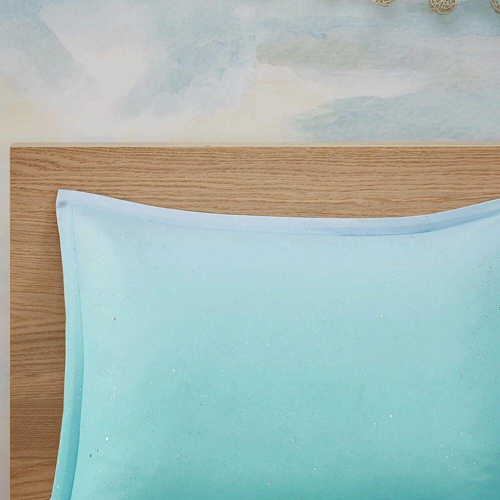 Hampton Park Glimmer 4-Piece Full/Queen Reversible Duvet Set in Aqua, , large