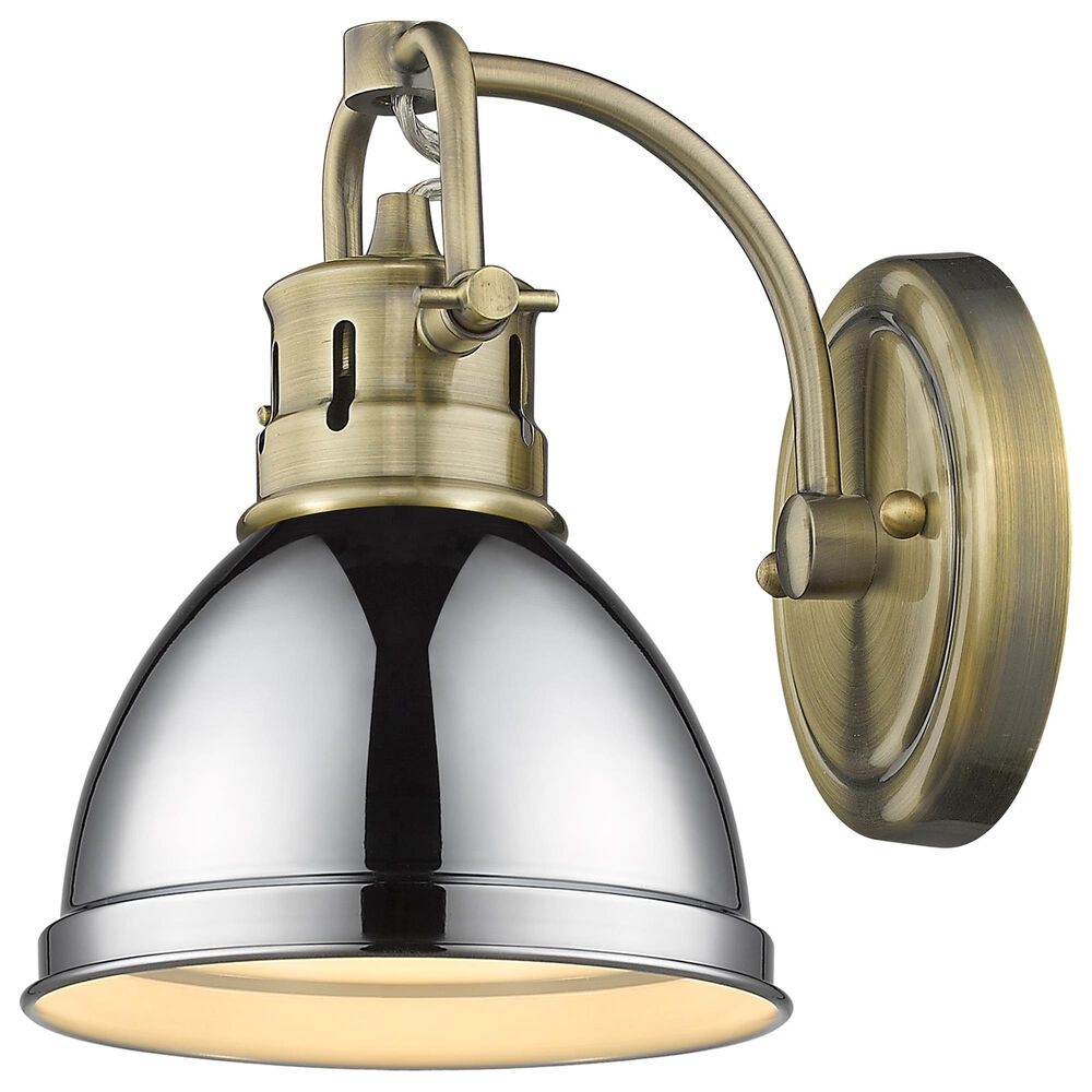 Golden Lighting Duncan 1-Light Bath Vanity in Aged Brass and Chrome, , large