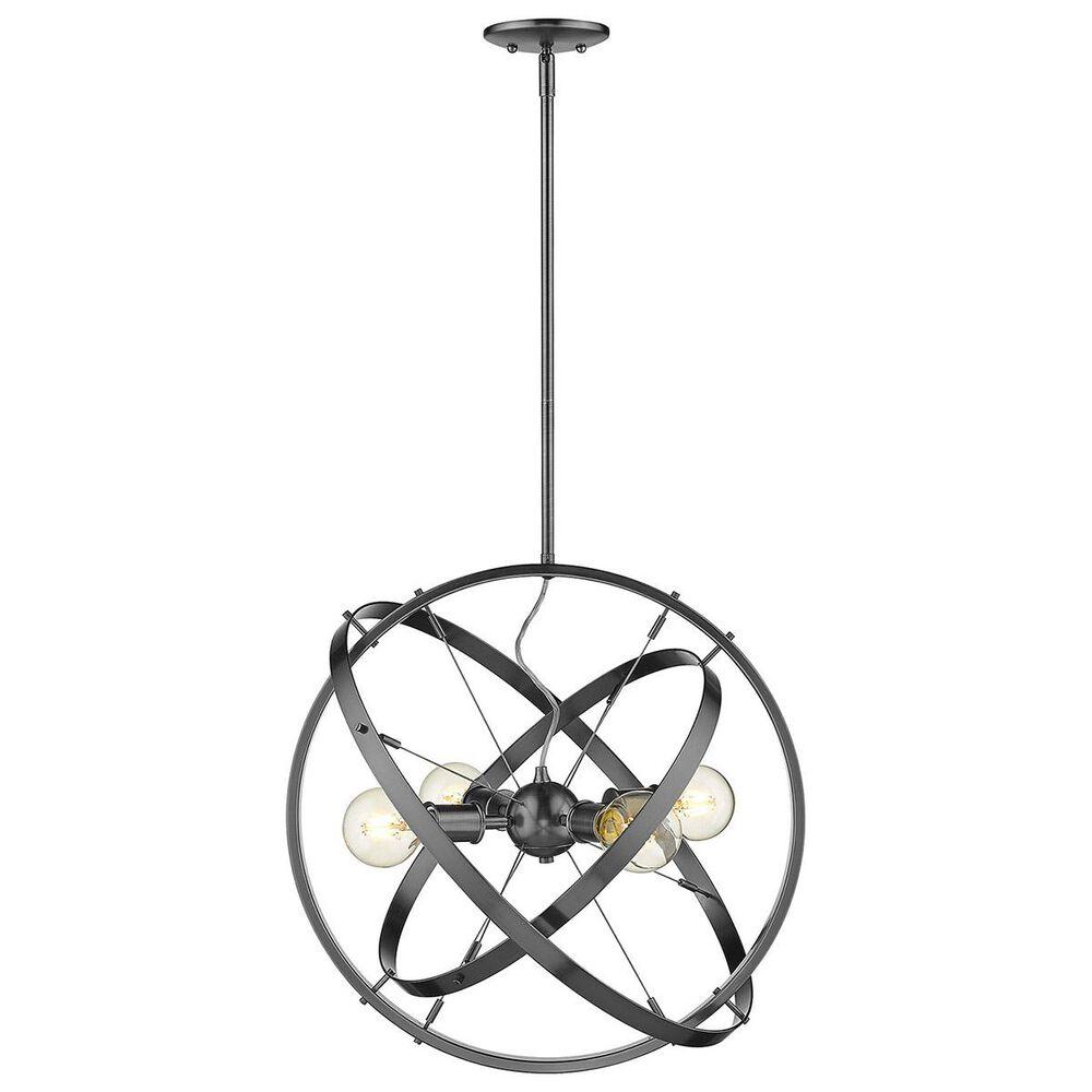 Golden Lighting Atom 4-Light Chandelier in Brushed Steel with Black Brushed Steel Accent Rings, , large