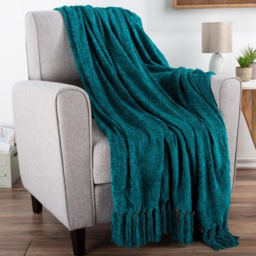 """Timberlake LHC 60"""" x 70"""" Ultra Soft Chenille Throw in Lagoon Teal, , large"""