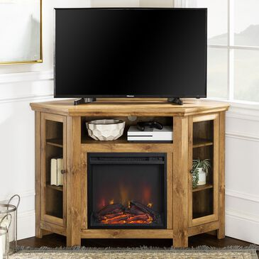 "Walker Edison 48"" Corner Fireplace TV Stand in Barnwood, , large"