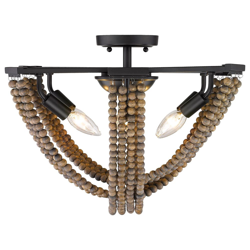 Golden Lighting Samba 6-Light Semi-Flush with Wood Bead Accent in Matte Black, , large