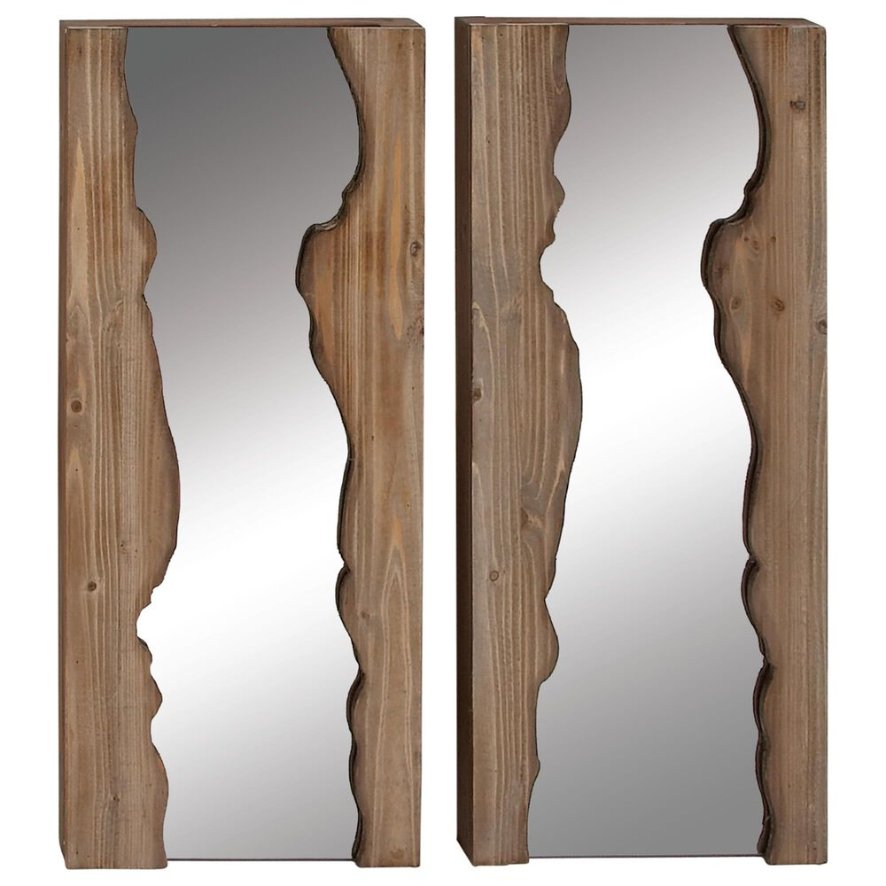 """Maple and Jade 32"""" x 13"""" Wall Mirror in Brown (Set of 2), , large"""