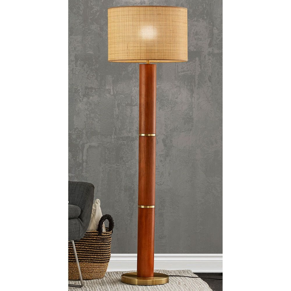 Adesso Napa Floor Lamp in Walnut and Antique Brass, , large