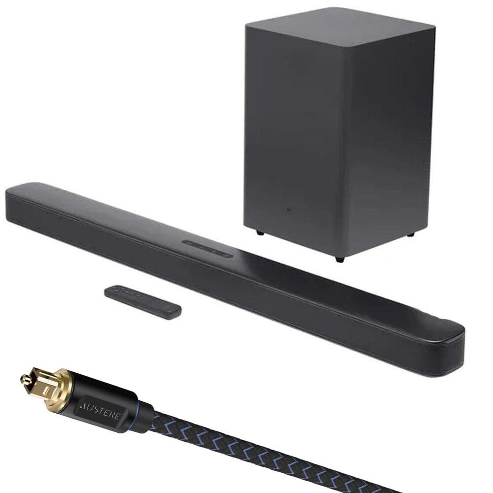 JBL 2.1 Channel Soundbar with Wireless Subwoofer System in Black + Austere V Series Optical Audio Cable 6ft, , large
