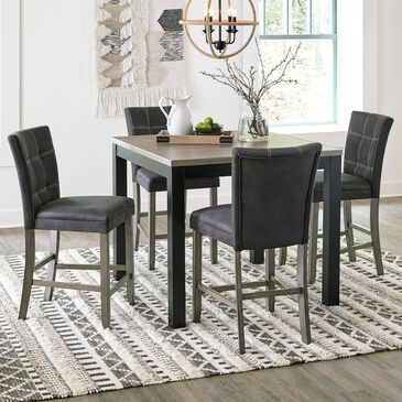 Signature Design by Ashley Dontally 5-Piece Counter Height Dining Set in Gray and Black, , large