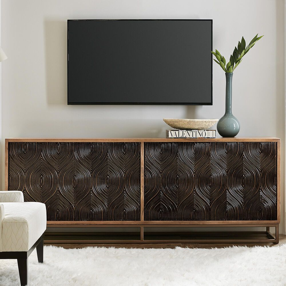 Hooker Furniture Swirl Door Entertainment Console in Brass Foil and Medium Natural, , large