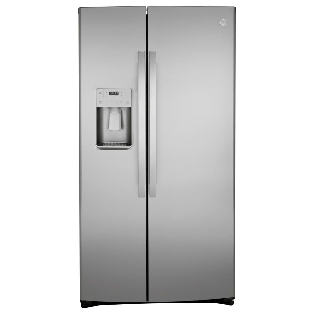 GE Appliances 4-Piece Kitchen Package with 25.1 Cu. Ft. Side-By-Side Refrigerator and Electric Range in Stainless Steel, , large