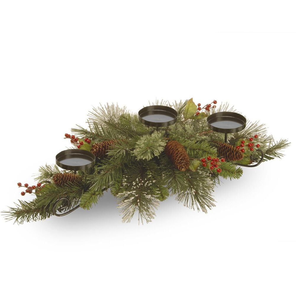 """National Tree 30"""" Wintry Pine Centerpiece and Candle Holder, , large"""