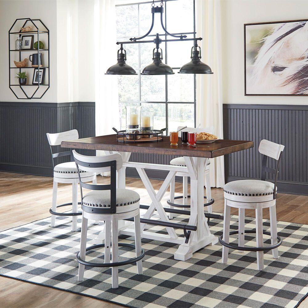 Signature Design by Ashley Valebeck Upholstered Swivel Barstool in White and Black, , large