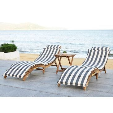 Safavieh 3-Piece Pacifica Lounge Set with Grey and White Cushion in Teak Brown, , large