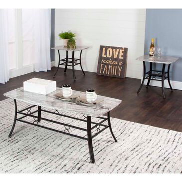 Penny Lane Stu 3-Pack Occasional Table Set in Gray Faux Marble and Black, , large