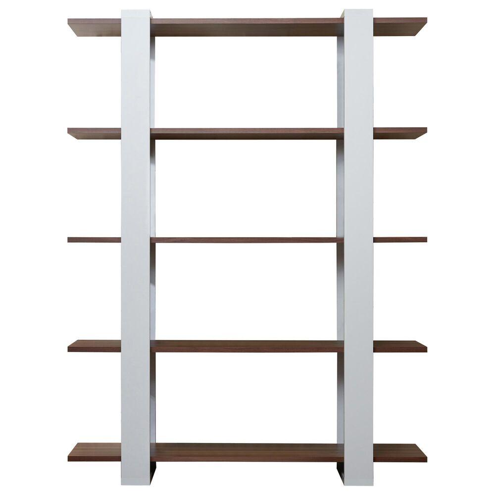 Furniture of America Navarro 5-Tier Display Bookshelf in Walnut/White, , large
