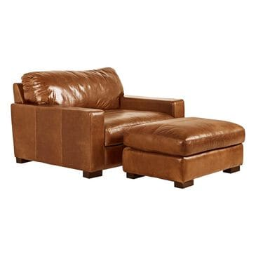 Softline Leather Chair and a Half and Ottoman in Splendor Chestnut, , large