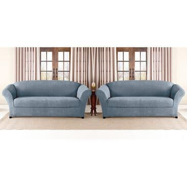 Surefit 2-Piece Box Cushion Sofa Slipcover in French Blue, , large