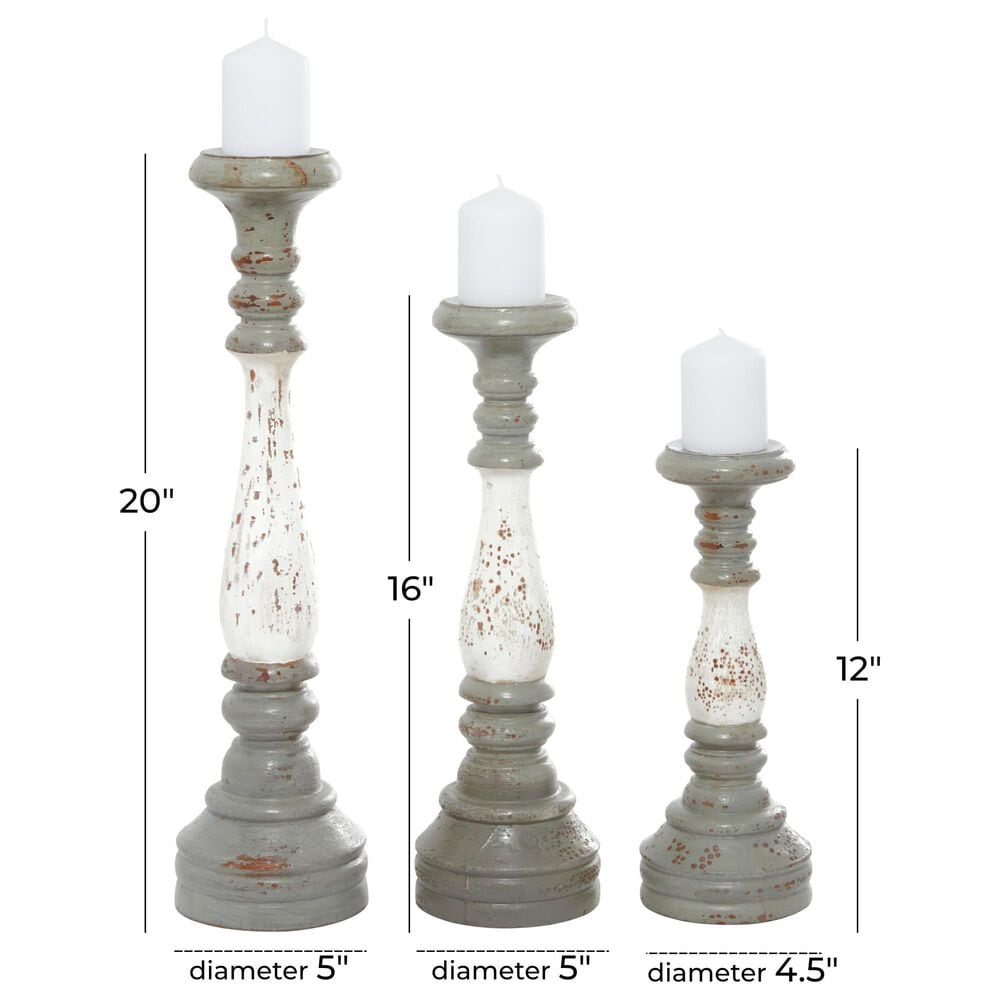 Maple and Jade Farmhouse Wood Candle Holders in White and Grey (Set of 3), , large