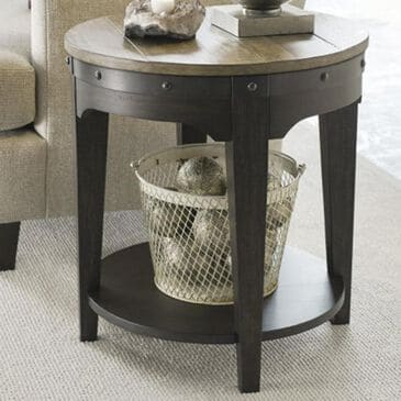 Kincaid Plank Road Artisans Round End Table in Stone and Charcoal, , large