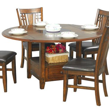 Nineteen37 Zahara Dining Table in Medium Oak with Round Granite Lazy Susan - Table Only, , large
