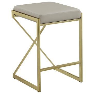Pacific Landing Upholstered Counter Height Stool with Taupe Cushion in Sunny Gold, , large