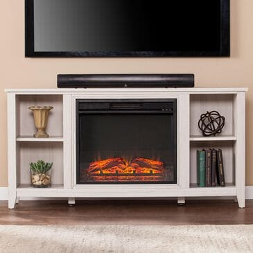 Southern Enterprises Hugre Electric Media Fireplace in White, , large