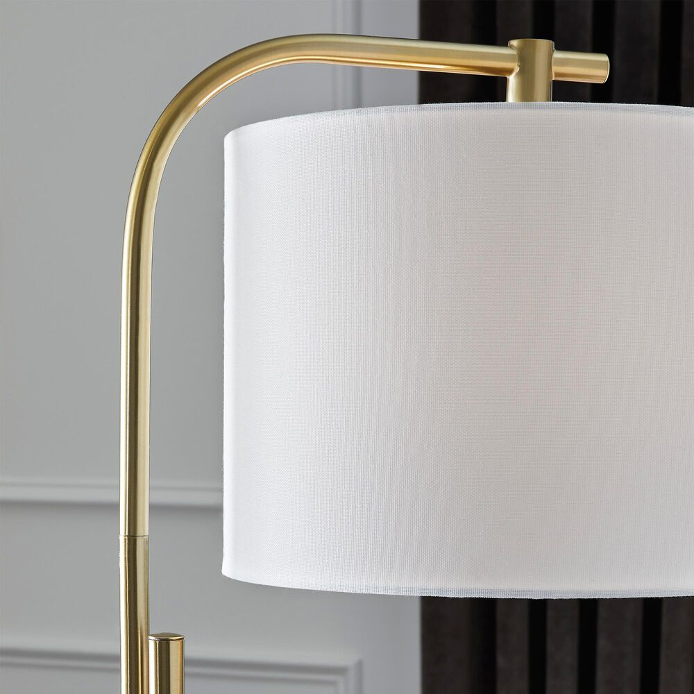 Signature Design by Ashley Baronvale Metal Floor Lamp in Brushed Brass, , large