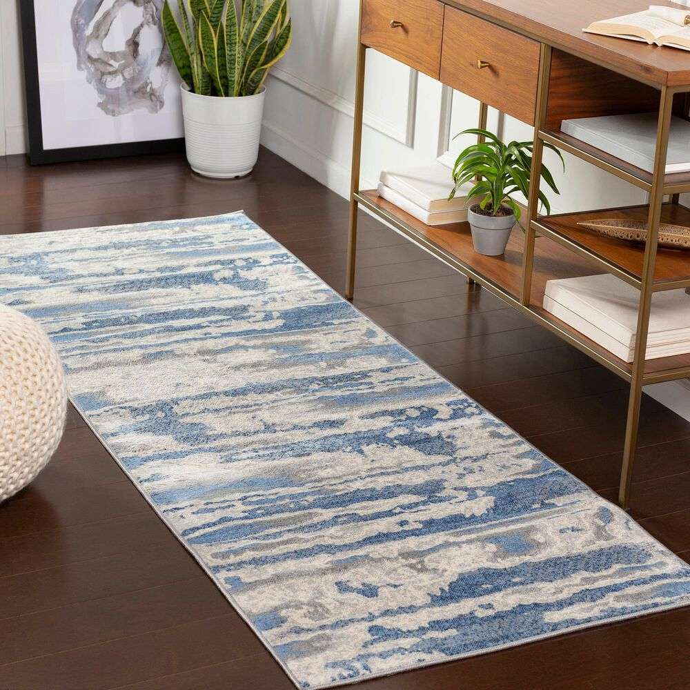 """Surya Monaco MOC-2312 2'6"""" x 8' Bright Blue and Silver Gray Scatter Rug, , large"""