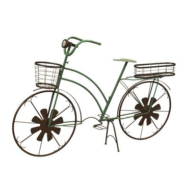 """The Gerson Company 37"""" Solar Powered Antique Bike Plant Stand in Green, , large"""