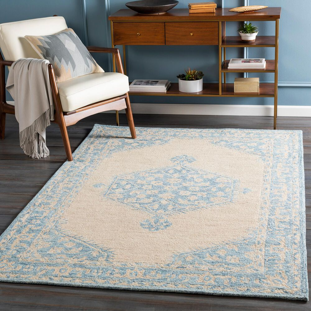 Surya Granada GND-2306 4' x 6' Pale Blue, Beige and Sky Blue Area Rug, , large