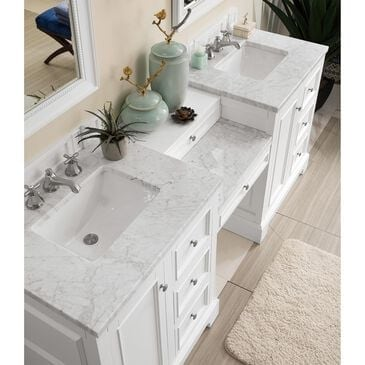 "James Martin De Soto 82"" Double Bathroom Vanity in Bright White with 3 cm Carrara White Marble Top, , large"